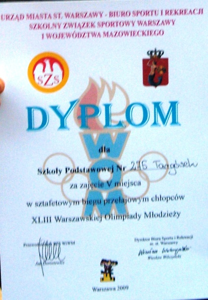 Dyplom chłopcy  Sp 275 sztafeta
