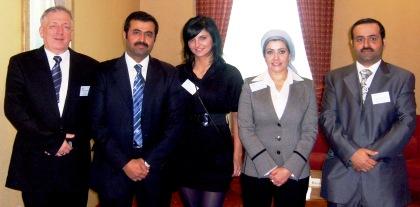 Od lewej Red. Wojciech Stefan Jaroń ,Minister Energetyki i Przemysłu Kataru Mohammed Bin Saleh Al-Sada , Reporter Ewelina Łojewska TV TOP CANAL , inni