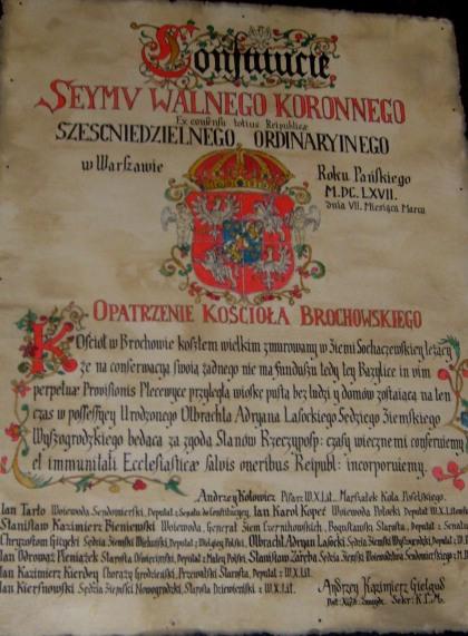 Pamiątka z 1667 z Kościoła w Brochowie