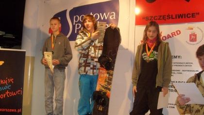 Młode medalistki Mistrzostw Warszawy w snowbordzie
