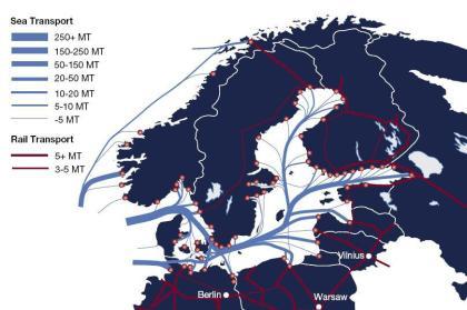 Wielkość transportu morskiego na Bałtyku