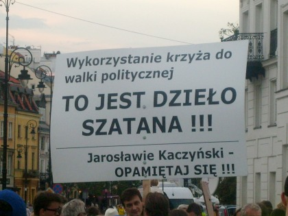 Plakat przed Pałacem Prezydenta RP 09.08.2010