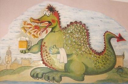 Malowidło ścienne w restauracji u podnóża Wawelu