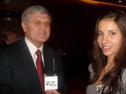 Andrzej Lubański i reporterka TV TOP CANAL
