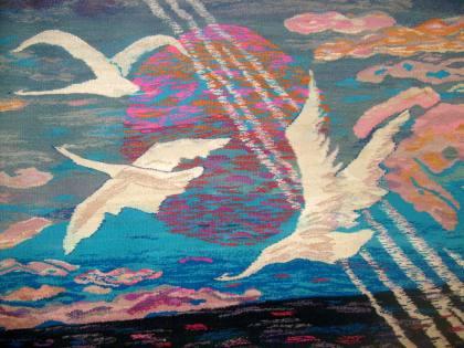 Białe ptaki gobelin Barbara Michałowska