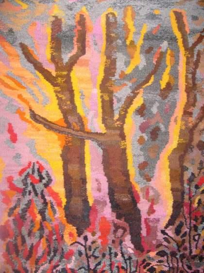 Pożar lasu gobelin Barbara Michałowska