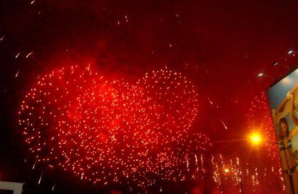 Fajerwerki polskiej Prezydencji - kolor czerwony
